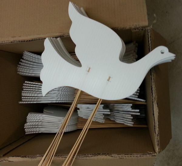 Dove cut outs on bamboo in packing