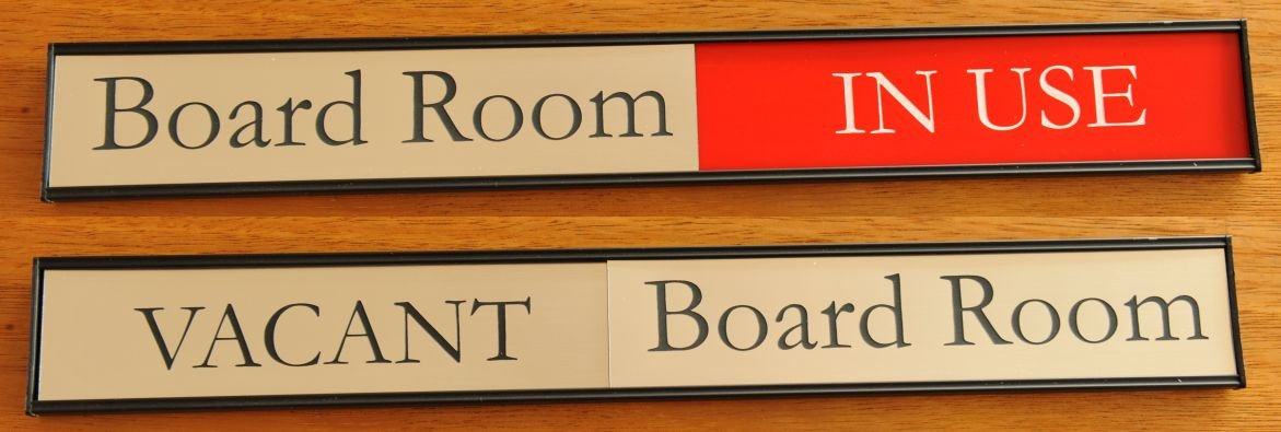 Conference Room sign Red highlight on In Use