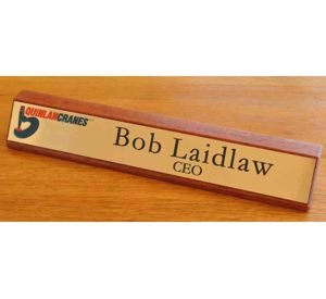 Desk Name Plate Timber 300 mm long