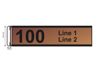 "Slide Mount Sign Length 200 X 40 mm ( 8"" x 1.6"" )"