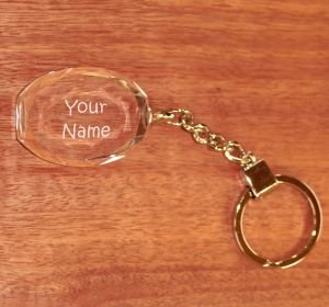 Crystal Keychain Oval Facet 36 x 30 x 15 mm
