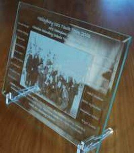 "Glass Photo Frame with Photo etched into glass 200 x 275 mm (8"" x 11"")"