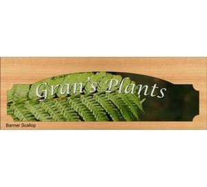 Sign Timber printed window Banner Scallop 398 x 140 mm