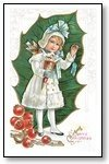 Christmas Cards Girl in white in front of holly leaf  005