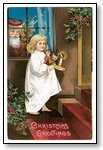 Christmas Cards Girl with Santa at window  007