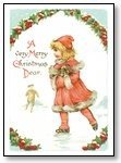 Christmas Cards Girl in pink Merry Christmas 019