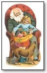 Christmas Cards Santa sitting with children and dog 020