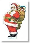 Christmas Cards Santa carrying sack of presents 021