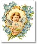 Floral cupid in frame blue flowers 020