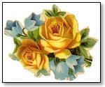Floral Pair yellow roses with blue bells 025