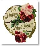 New Year plaque pink red roses 005