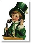 St Patricks Day boy bowler hat and telephone 089