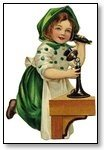 St Patricks Day Girl in green and white on antique phone 093