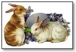 Easter pair rabbits with egg 123