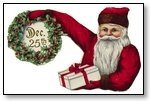 Christmas santa holding wreath 271