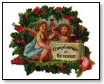 Christmas cupids in wreath 272