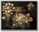 Art multiple pink florals on black  008