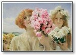 Art two girls with pink floral bouquet 01