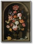 Art floral arrangement in vase set in alcove 013