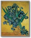 Art Blue flowers in gold vase on gold 06