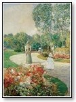 Art woman and child on garden path 07