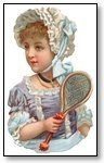 girl in bonnet and badmington racquet 097