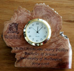 Quartz Clock in Polished Burl Base