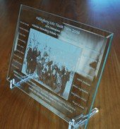 Award engraved bevel glass plate