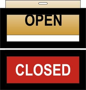 Open Closed sign Brush metal gold and red